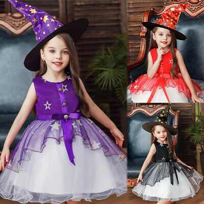 Fashion Toddler Kids Girls Floral Star Princess Halloween Party Tulle Dress+Hats