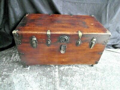 Antique Campaign Camphor Wood & Brass Bound Chest