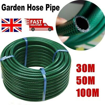 GARDEN HOSE PIPE REEL REINFORCED OUTDOOR HOSEPIPE GREEN 15m 30M 50M 75M 100M