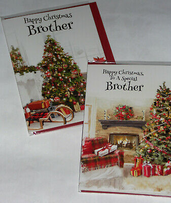 BROTHER CHRISTMAS CARDS X 12, JUST 29p,SRP £1.39, 2 DESIGNS x 6 WRAPPED (B765