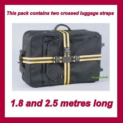 1 Pair NON-SLIP Lock Luggage Suitcase Safe Belt 2Crossed Strap Nylon Belts Korjo