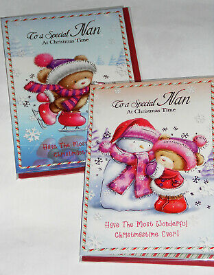 NAN CHRISTMAS CARDS X 12, JUST 29p,SRP £1.39, 2 DESIGNS x 6 WRAPPED (B717