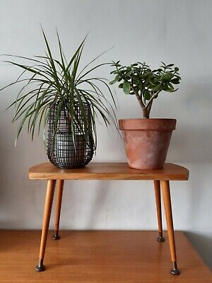 Vintage Mid Century Modern Wooden Plant Stand Side Lamp Table Dansette Legs
