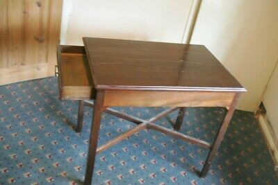 small mahogany side table with 2 end drawers