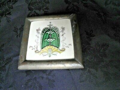 Antique/Vintage Solid Brass & Tile Teapot Stand