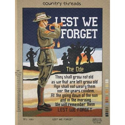 Country Threads Tapestry Printed LEST WE FORGET New TFJ-1051
