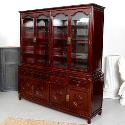 Vintage Chinese Rosewood Display Case Bookcase Triple Library Glazed