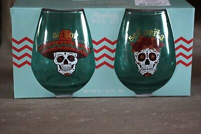 Mr & Mrs Senor & Senorita Sugar Skulls  Wine Glass Set 16Oz Glasses X 2 Rare New