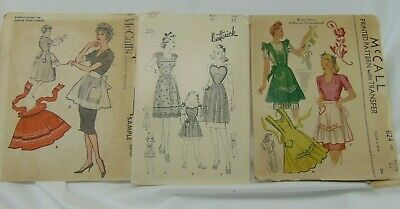 Vtg Aprons SEWING PATTERNS Misses & Girls 1940's - 1950's LOT OF 3 Cut/Complete