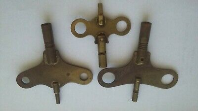 3 Antique Carriage Clock Keys Double Ended Brass Carriage Clock