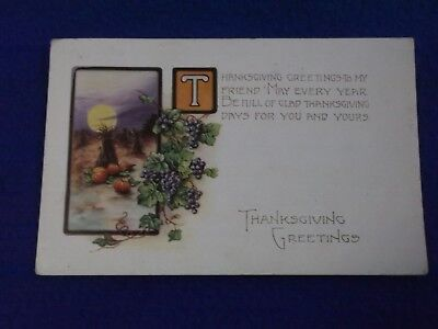 Postcard ~ Thanksgiving Greetings ~ NY ~ With a Stamp 1926