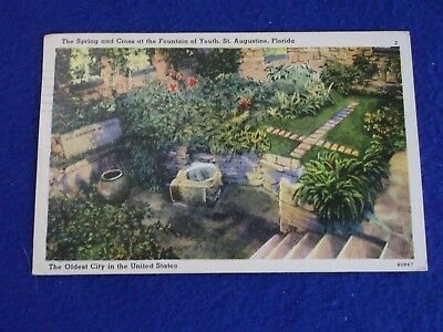 Postcard ~ Spring & Cross at the Fountain of Youth ~ FL ~ IN ~ with Stamp 1954