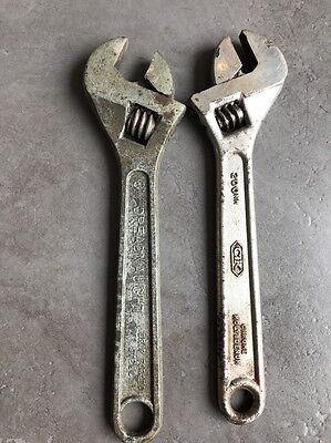 """Vintage 8"""" Adjustable Wrench Gray Dreadnaught Ck"""