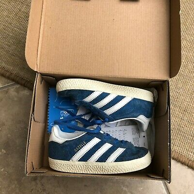 Toddler Baby Adidas Blue Gazelle Trainers Uk 6 Infant Kids Shoes With Box