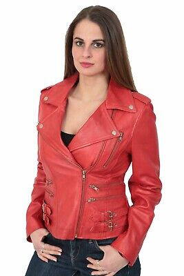 Womens Real Red Leather Biker Style Jacket Trendy Girls Fitted Zip Feasting Coat