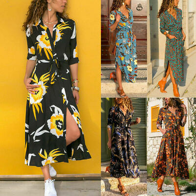 Summer Boho Women Dress Beach Party Dresses Long Sundress Maxi Slit Cocktail