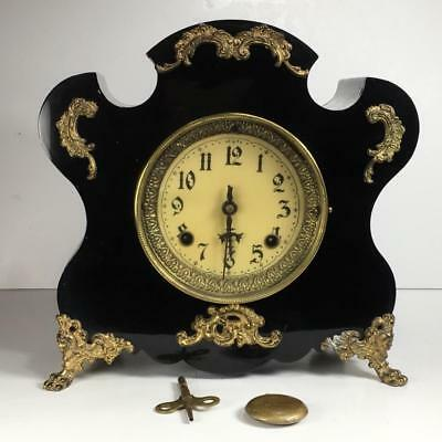 Antique New Haven Enamel Cast Iron Case Mantel Clock Brass Accents 11.5x11x4.5""