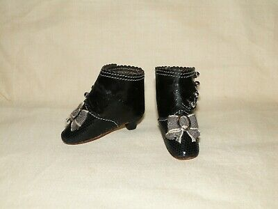 "Leather high shoes for antique fashion doll French style 2"" 1/4 (or 56 mm)"