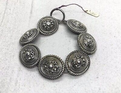 Vintage Mexico 925 Sterling Silver Concho Links Bracelet (50.7g)