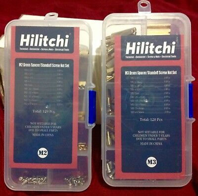 HILITCHI 240 (M2,M3) Brass Male spacer/Standoff Screw Nuts Assortment kit,New