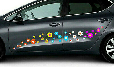 35 FLOWERS DAISY MULTICOLORED STICKERS DECALS CAR WALL WINDOW Bathroom HOME +