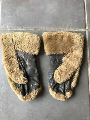 Pair Of Vintage Sheepskin Leather  Gloves Mittens