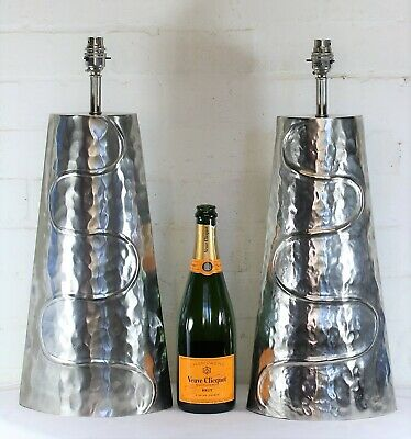A Pair of Table Lamps Large Hammered Metal Ethnic Unusual Design Very Well made