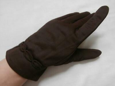 Vintage Late 1950's Dark Brown Nylon Wrist Gloves w/ Cuff Detail Size 6 1/2, Sml