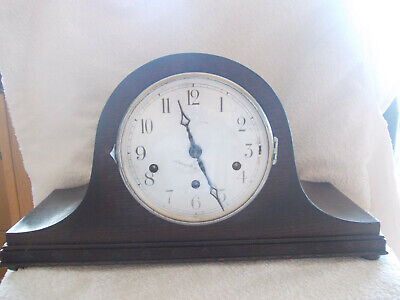 Antique 1930's German Oak Mantel Clock with Westminster Chime in working order.