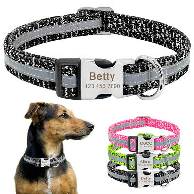Reflective Personalized Dog Collar Engraved Name&Number Custom ID Tags Nylon SML