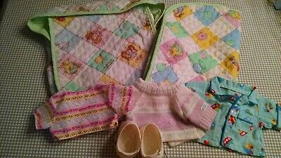 Vintage Cabbage Patch Kids Diaper Bag Sleeping Bag Clothes Shoes 1983 Lot of 6
