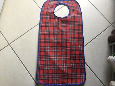 Adult Clothing Protector Apron / Bib Scottish Red Tartan Full Front And Lined