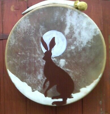 "Shaman Drum Red Deer rawhide & antler beater 16"" Hare & Moon image"