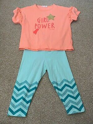 Billieblush Girls Orange Girl Power T-shirt Top & Turquoise Crop Leggings Age 5