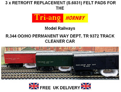 3 x Replacement Track Cleaning Felt pads for Tri-ang Hornby R.344 Track Cleaner