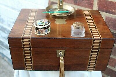 ACE  c 1870 FIGURED WALNUT TUNBRIDGE STYLE INLAY WRITING SLOPE BOX INK WELL PEN