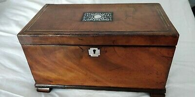 Antique c1800 George III Mahogany Inlaid Tea Caddy