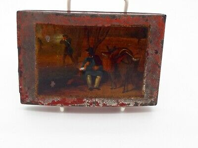 Antique Tin Cheroot Holder Case Hand Painted Hunting Scene Continental Style