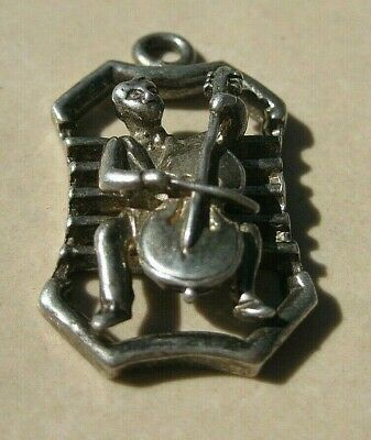 Large Vintage Sterling Silver 3-D BASS or CELLO PLAYER Charm
