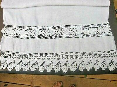EARLY Antique Vtg Flax Linen Table Runner Scarf with Irish Crochet~French Estate