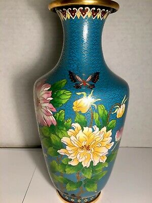 """Large 13""""  Tall Chinese Brass Cloisonné Enamel Floral Vase  A Beauty"""