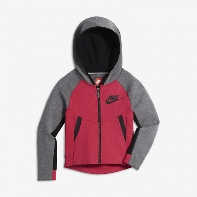 Nike Girl/'s Full Zip SPTCAS Hoodie Fleece Jacket Grey