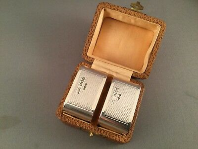 CASED PAIR OF SOLID SILVER NAPKIN RINGS, EDWARD VIII, BIRM C1936, Gieves Ltd