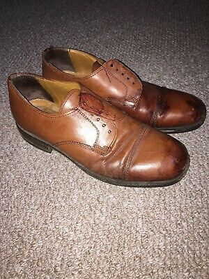Vintage 1940s Look Mens Conker Brown Tan Shoes 43 ww2 40s event Lace Up
