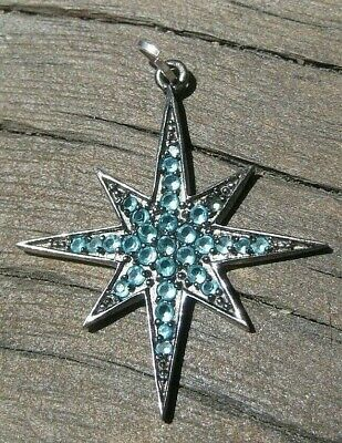 Large Vintage Sterling Silver Pretty STAR Charm Set with AQUA Stones or Glass