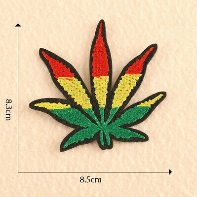Rainbow Marijuana Weed Pot Leaf Stoner Pride Iron Sew On Embroidered Patch 1743