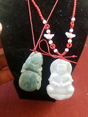 vintage Chinese Natural Hand-carved jade or jadeite pendant lot of 2 pre owned