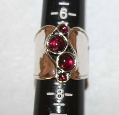 """Silpada Sterling Silver Hammered Garnet """"Pebbled Path"""" Ring - size 7"""