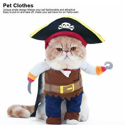 Pet Small Dog Cat Pirate Costume Outfit Jumpsuit Clothes For Halloween