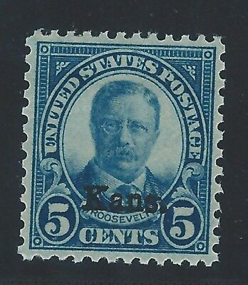 US Scott #663 Mint OG NH XF-SUP 5c Kansas Overprint